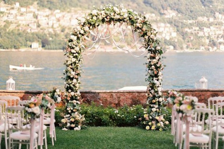 Wedding Ceremony Arch of flowers at Villa Teodolinda