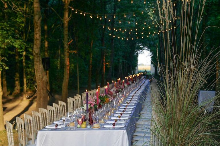 Wedding banquet set at the Convent, Lake Garda, Italy