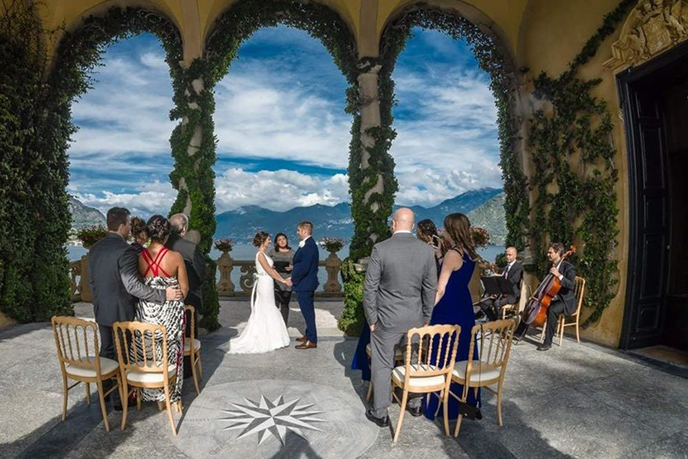 A wedding ceremony at Villa Balbianello