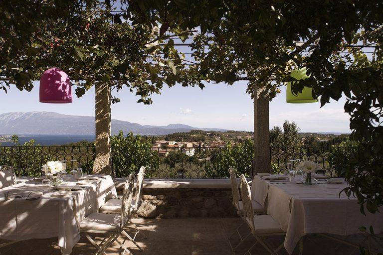 A wedding reception on the terrace at Villa Arcadio Hotel, Lake Garda
