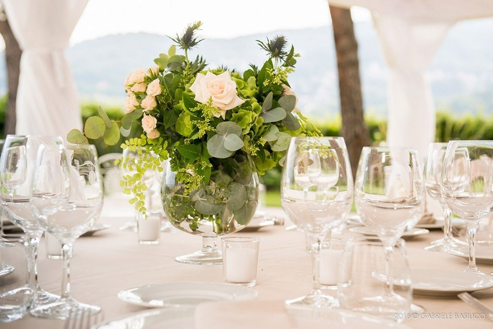 Wedding table setting at Villa Geno, Lake Como