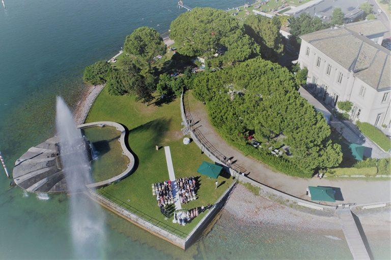 Aerial photograph of a Wedding at Villa Geno, Lake Como