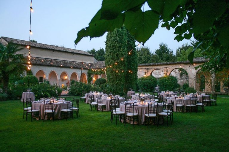Wedding tables set in the grounds of the Convent, Lake Garda